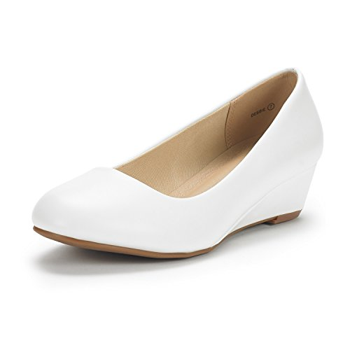 DREAM PAIRS Women's Debbie White Pu Mid Wedge Heel Pump Shoes - 6 M US