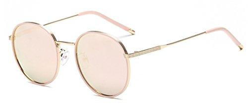 Metal Marco B Gafas de de de Mujer Redondas para Gafas Sol MOQJ de Gafas Vendimia la Sol UV A polarizadas Protección Haze w4E1xqdw