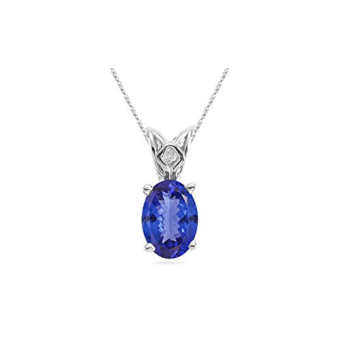 0.21-0.29 Cts of 5x3 mm AA Oval Tanzanite Scroll Solitaire Pendant in 14K White Gold - Valentine's Day Sale