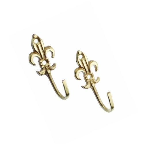 Harrison Drape Fleur De Lys Metal Curtain Tie Back Hooks, Brass, Small, Pair