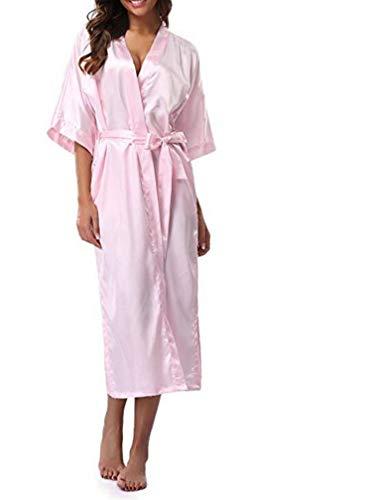 Women Silk Satin Long Robe Feminino Bath Robe Large Size XXXL Peignoir Femme Sexy Bathrobe,Pink,L ()