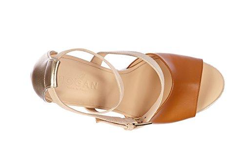 Hogan zapatos cuñas plataformas mujer en piel nuevo h263 vintage beige