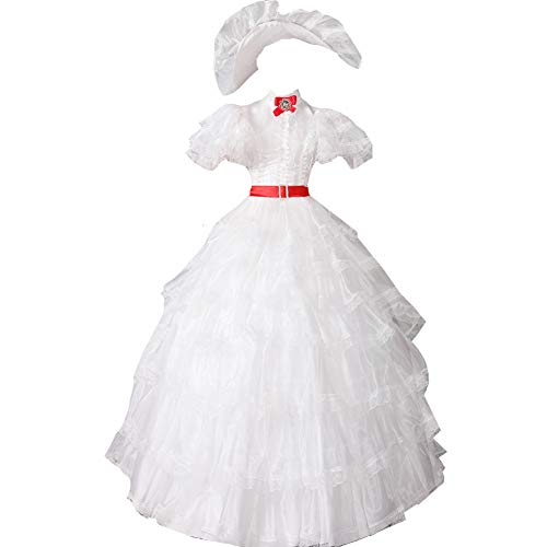(AGLAYOUPIN Adult Women White Gown Dress Costume with Hat Halloween)