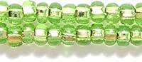 Preciosa Ornela Czech Silver Lined Seed Bead, Light Pale Green, Size 6/0