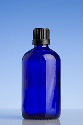 100 ml azul botellas de vidrio con cuentagotas negro precinto tapón para aceite esencial/aromaterapia