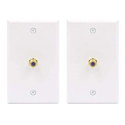 (VCE 2-Pack 3GHz Gold-Plated F Type RG6 Keystone Jack Insert Wall Plate )