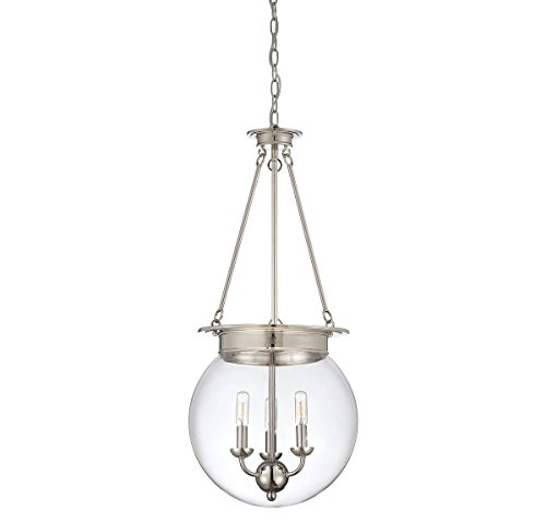 Savoy House Ceiling Foyers Pendant - Savoy House Lighting 7-3301-3-109 Casual Lifestyles 3 Light Foyer Pendant and Clear Glass Shade, Polished Nickel Finish