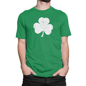 Retro Green Irish Distressed Shamrock T-shirt St Patricks Day Mens Ireland Pride Tee Shirt,Green,Large