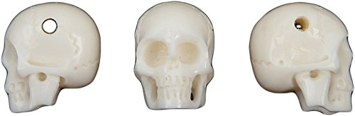 Curious Designs Skull Beads, Bone, Three Pieces - Hand Carved, Six Tenths Inch from Top