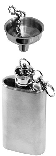 SE HQ150-2PC 2 oz. Stainless Steel Keychain Flask and Funnel Set (2 PC.)