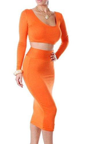 Pezzi Due Manicotto Arancione Gonna donne Lungo Vestito Girocollo Anca Coolred In Abito 6tEwqfqH