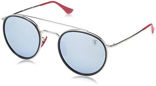 Ray-Ban RB3647M Scuderia Ferrari Collection Round Sunglasses, Silver/Silver Flash, 51 mm