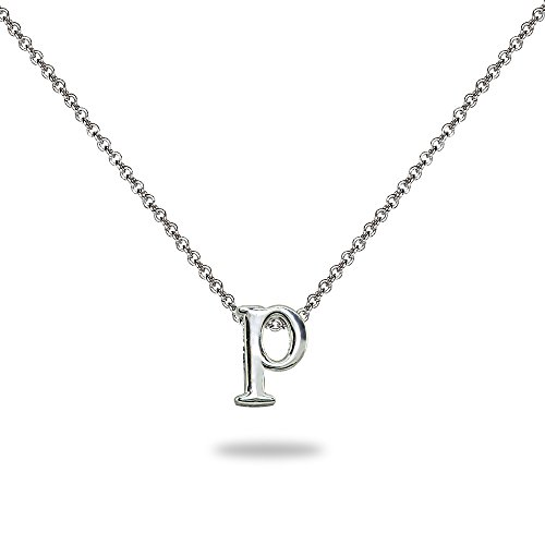 "- Sterling Silver P Letter Initial Alphabet Name Personalized Pendant Necklace, 15"" + Extender"