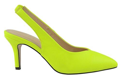 Cambridge Selezionare Donna Slip-on Chiuso Punta Appuntita Elasticizzata Con Cinturino Tacco Medio Giallo Neon Giallo