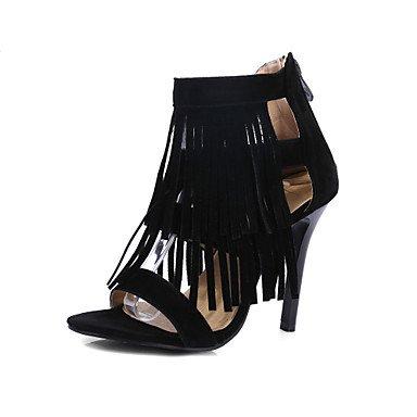 LvYuan Mujer-Tacón Stiletto-Zapatos del club Confort Gladiador-Sandalias-Boda Fiesta y Noche Vestido-Vellón-Negro Azul Amarillo Black