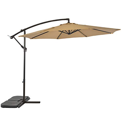 SUNLONO 10 Ft Cantilever Umbrella Outdoor Offset Patio Umbrella for Poolside, Deck, Garden, Backyard 8 Ribs, Beige -