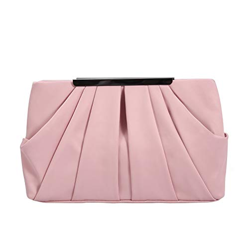 Womens Pleated Satin Evening Handbag Clutch With Detachable Chain Strap Wedding Cocktail Party Bag (Carnation Pink)
