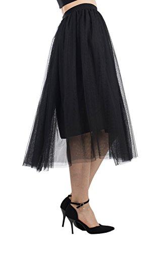 CHICLIST Women's Elastic Waist Ballet Layered Skirts Princess Mesh Tulle Tutu Skirt (Black)