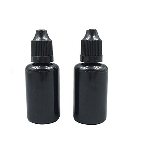 TOPWEL 30ml Black PET Plastic Dropper Bottles with Child Safety Cap (50)