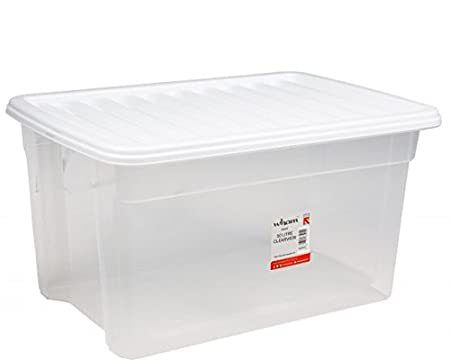 5x 50 Litre Clear Plastic Stacker Box Large Storage Box With Lids