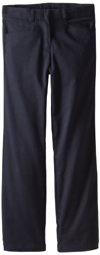 Nautica Big Girls' Uniform Stretch Twill Bootcut Pant, Su Navy, 10