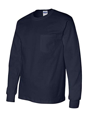 Gildan Men's Ultra Cotton Long Sleeves Pocket T-Shirt_Navy_3XL
