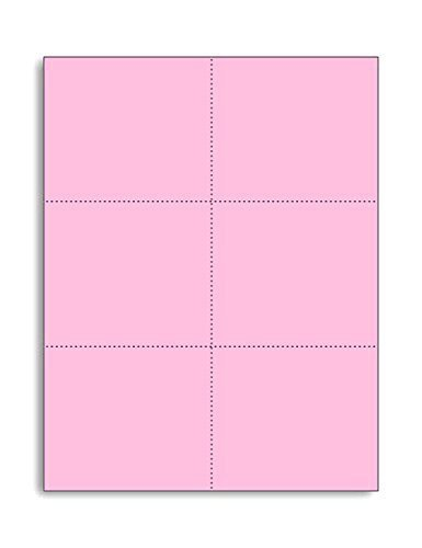 Laser Printer Blank Perforated Cards 6 up per Page, for School registration cards, Flower Delivery Cards, Inventory Tags, Wedding Response Cards, RSVP Cards, Trip Tickets, ETC. (300 Pink Cards) ()