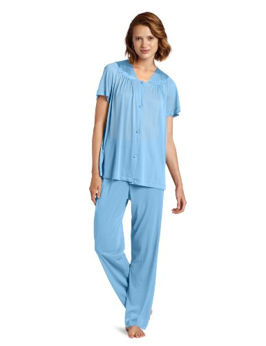 Exquisite Form Women's Colortura Short Sleeve Pajama,Purity Blue,3x