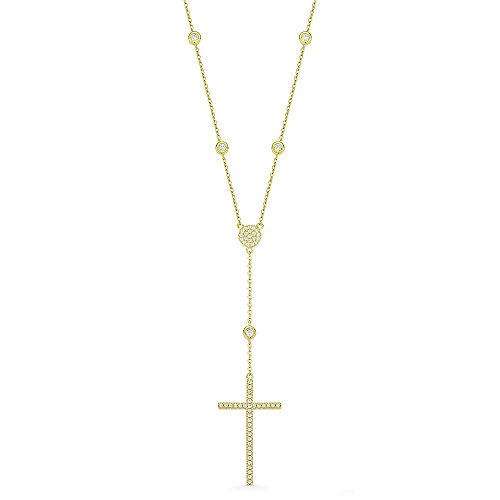 NYC Sterling Diamond By Yard Cross Crucifix CZ Crystal 925 Sterling Silver Pendant & Catholic Rosary Necklace (Yellow)