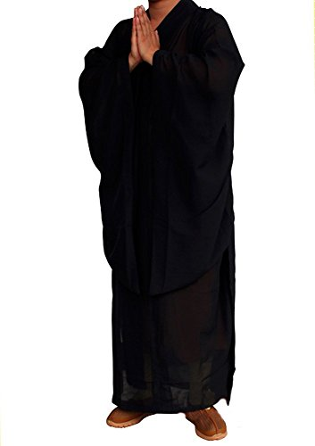 ZooBoo Shaolin Unisex Monk Kung fu Robe Costume Long Gown Suit (XXL/185, Black)