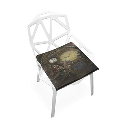 SLHFPX Seat Cushion Steampunk Clocks Chair Cushion Offices Butt Chair Pads Square Car Mat for Outdoors ()