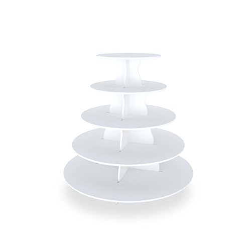 The Smart Baker NEW Quick and Easy 2 in 1 Round Cupcake Tower Stand - Reusable as 3 or 5 Tier Cupcake Stand - Holds 90+ Cupcakes