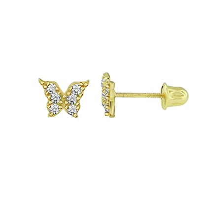 14kt Solid Gold Kids Butterfly Stud Screwback Earrings by Stephanie Rockway