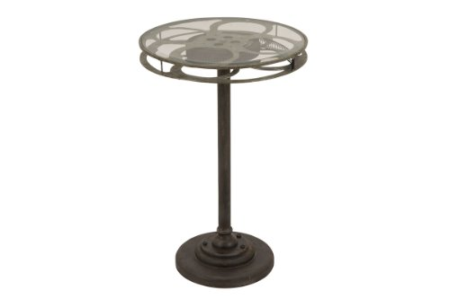 Deco 79 Metal Glass Accent Table, Designed as a Movie Reel, Green by Deco 79