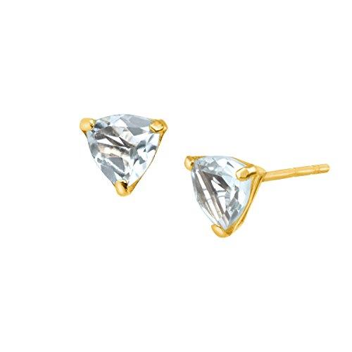 - 3/8 ct Natural Aquamarine Trillion-Cut Stud Earrings in 10K Gold