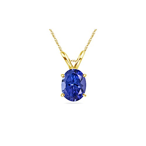Aaa Tanzanite Jewelry - 0.93-1.75 Cts of 8x6 mm AAA Oval Tanzanite Solitaire Pendant in 14K Yellow Gold