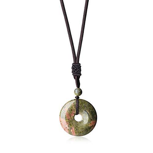 Round Stone Necklace - AmorWing Adjustable Round Donut Unakite Pendant Grounding Stone Protection Necklace