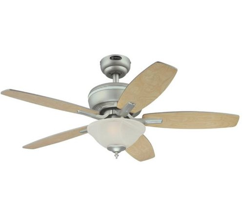 Westinghouse Lighting 7874900 Parkway Two-Light 42-Inch Reversible Five-Blade Indoor Ceiling Fan, Brushed Pewter with Alabaster Glass Bowl, Appliances for Home