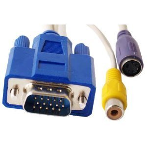 Hd/db-15 15-pin VGA Male to Video Tv / S-video + RCA Video Out Female Adapter ()