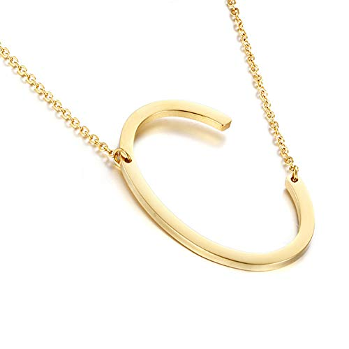 - MOMOL Sideways Initial Necklace 18K Gold Plated Stainless Steel Large Big Letter C Pendant Necklace Script Name Monogram Necklaces for Women Girl Kids (C)