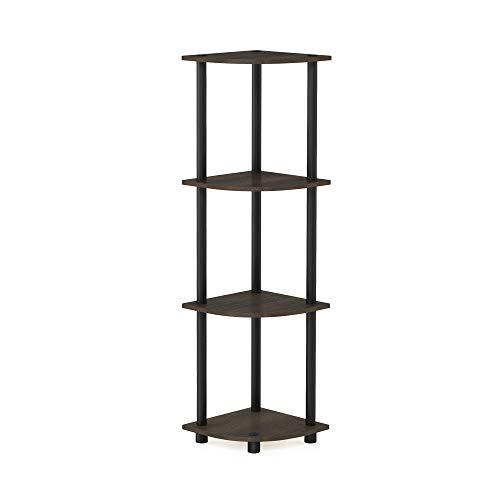 Furinno Turn-n-Tube Multipurpose 4-Tier Corner Shelf, Dark Brown Grain/Black