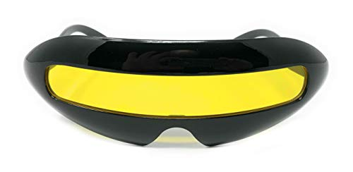 WebDeals - Futuristic Cyclops Single Lens Oval Sunglasses...... (Black Gloss, ()