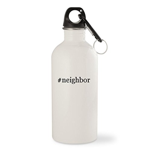 #neighbor - White Hashtag 20oz Stainless Steel Water Bottle with Carabiner