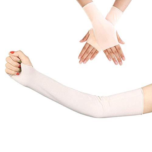 - Women Outdoor Sun Block Arm Sleeve UV Protection Cooling Soft Long Fingerless Gloves
