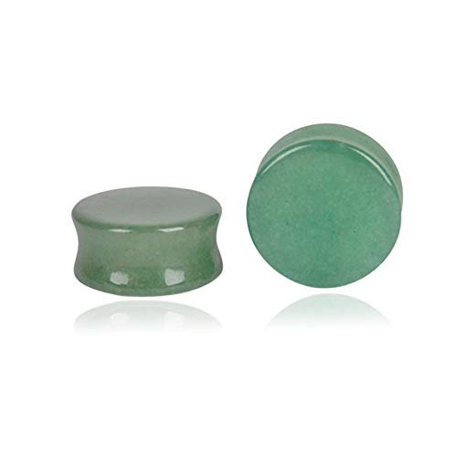 HQLA Green Jade Natural Stone Double Flared Flesh Plugs Tunnels Ear Gauges Stretcher Expander Kit 1 Pair (1/2