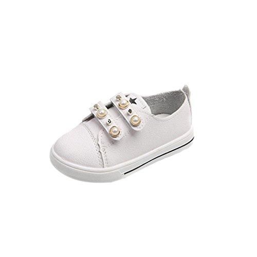 Clode® Neue Art und Weisekleinkind Baby Perlen beiläufige Turnschuhe Schuhe im Freien nette Schuhe Weiß