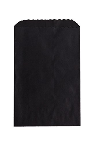 1,000 Black Flat Paper Merchandise Bags - Small (6 1/4 x 9 1/4) by A Package 4 It