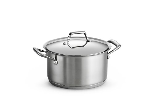 Tramontina 80101/016DS Gourmet Prima Stainless Steel, Induction-Ready, Impact Bonded, Tri-Ply Base Covered Sauce Pot, 6 Quart, Made in (Induction Ready Cast)