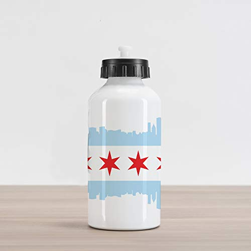 Ambesonne Chicago Skyline Aluminum Water Bottle, City of Chicago Flag with High Rise Buildings Scenery National, Aluminum Insulated Spill-Proof Travel Sports Water Bottle, Red White Baby Blue