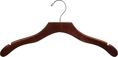The Great American Hanger Company Wooden Walnut Finish Hanger with Notches (Box of 50)